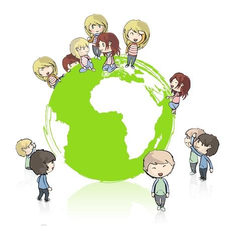 la société: Beaucoup de jeunes amis autour de la conception Vecteur planète