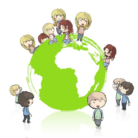recycling plant: Many young friends around the planet  Vector design  Illustration