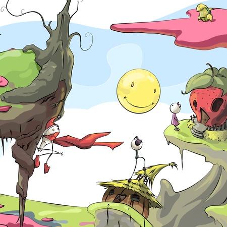 Fantastic colorful world. Illustration background.  Stock Illustration - 16598776