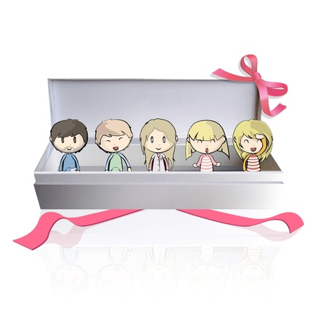 Many friends inside a gift box  Vector illustration Stock Vector - 16761092