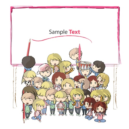 Many young friends writing on a giant banner  Vector background illustration
