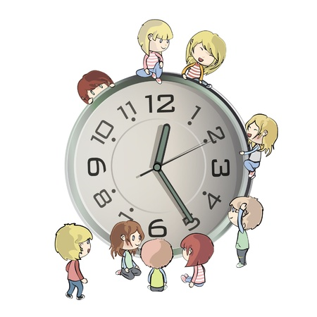 time of the day: Kids playing around clock  Vector design   Illustration
