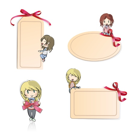 Many girls with gift cards to enter text  Vector design Stock Vector - 16761139