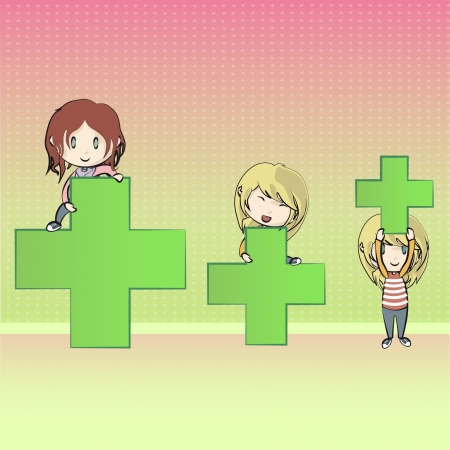 Girls playing with symbol of pharmacy  Vector design   Vector