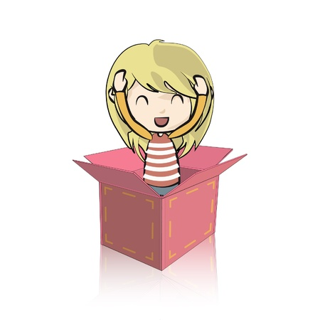 Cute girl in cardboard box  Isolated on white background  Vector illustration Stock Vector - 16761146