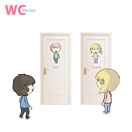 children going to the toilet  vector illustration   Stock Vector - 16761087