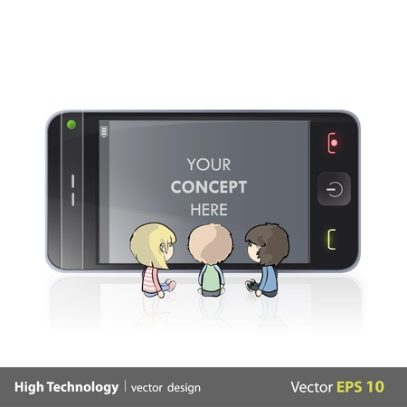 full screen: Three kids watching TV y a phone  Isolated vector background design   Illustration