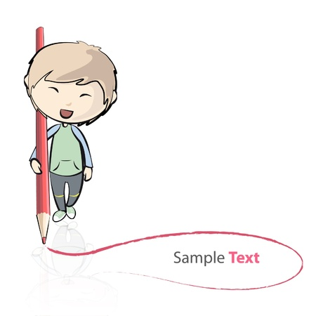 Child writing a note on the floor with a red pencil  Vector illustration