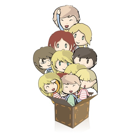Many children out of a cardboard box  Vector illustration  Vector