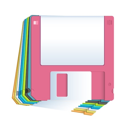Collection of colorful diskettes on white background  Vector