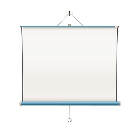 Empty white projector screen hanging from wall  isolated vector design   Illustration