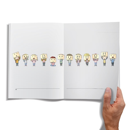 Isolated open book on white background.  Illustration