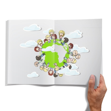 Isolated open book on white background with children around the world.  Vector