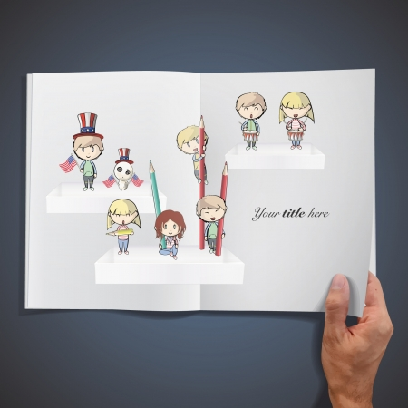Kids on shelves printed on white book.   Vector