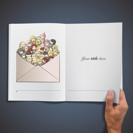 Lot of kids inside a post printed on a white book.  Vector