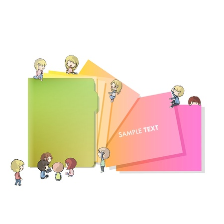 Many children around a folder isolated on white. Stock Vector - 16851462