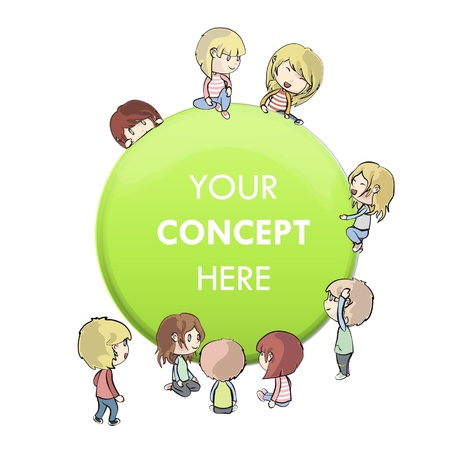 Many children around a web button.   Vector