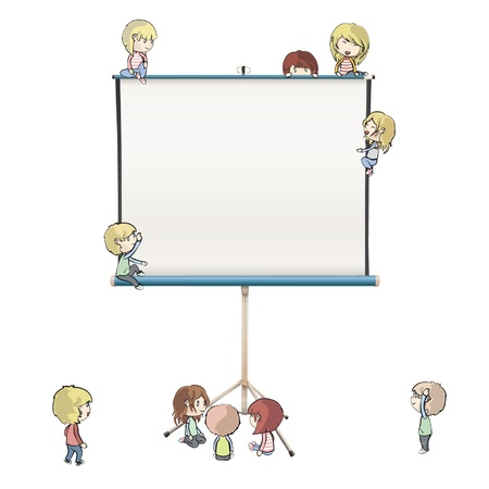 Many children around a screen. Stock Vector - 16851488