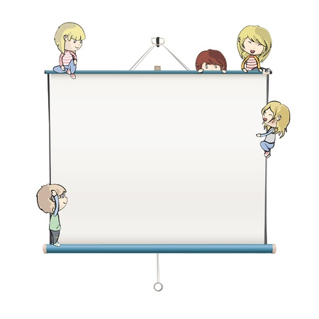 Many children around a white screen.  Vector