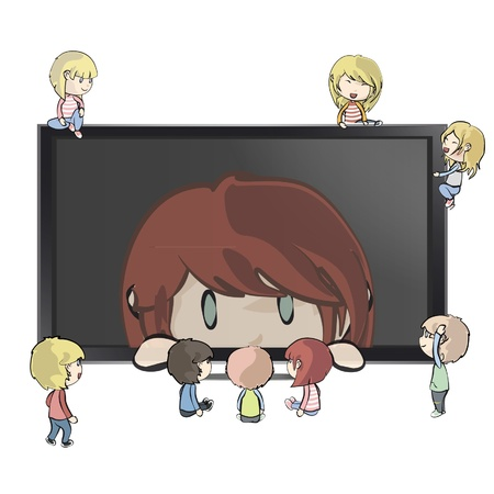 Many children around a TV with girl inside.  Vector