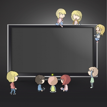 movie screen: Many children around a TV.