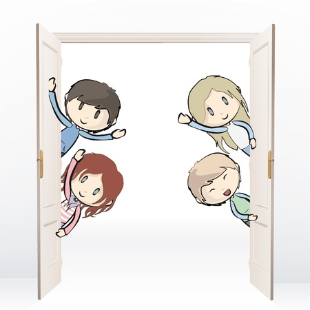 Group of kids behind de door.   Vector