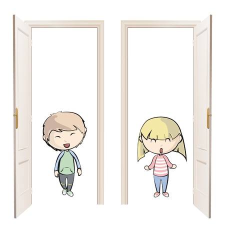 Kids indoor.  Vector