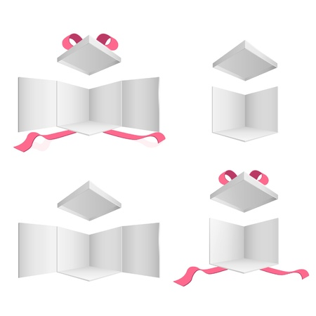 Open empty gift box with red ribbons on isolated white background. Stock Vector - 16851447