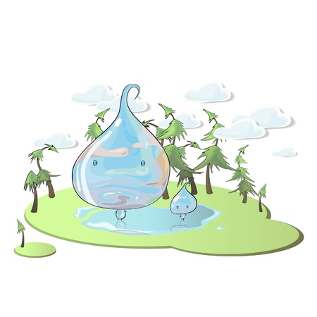refreshed: Drop of water in beautiful landscape.  Illustration