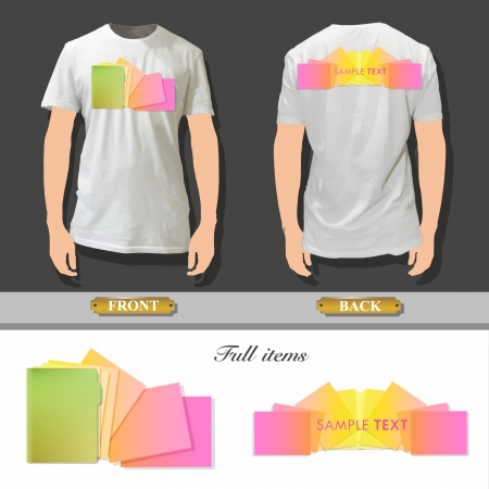 Folder with colorful sheets printed on white shirt. Stock Vector - 16851529