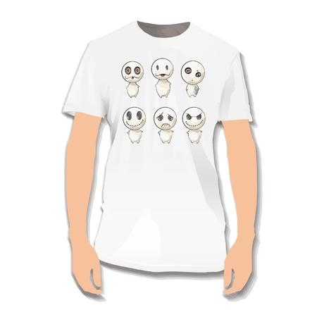 Cute monster printed on white shirt. Stock Vector - 16851448
