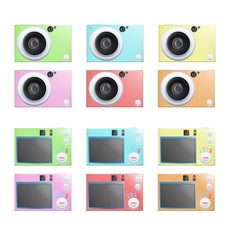 Collection of colorful cameras. Stock Vector - 16851786