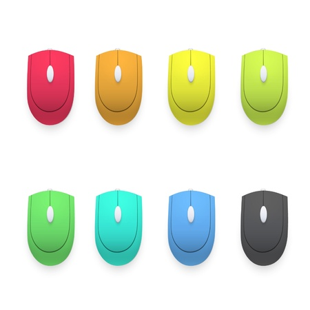 Colorful computer mouses on white background.  Stock Vector - 16851618