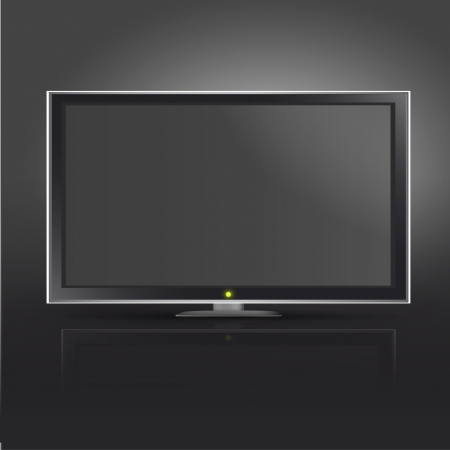 Realistic TV on black background. Stock Vector - 16851505