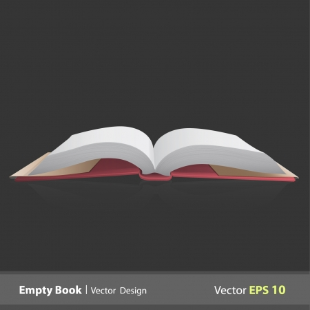 Open empty book or magazine on black background.  Vector