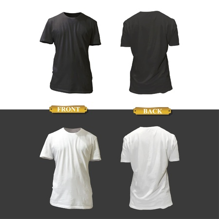 Empty white and black shirt design.  Vector
