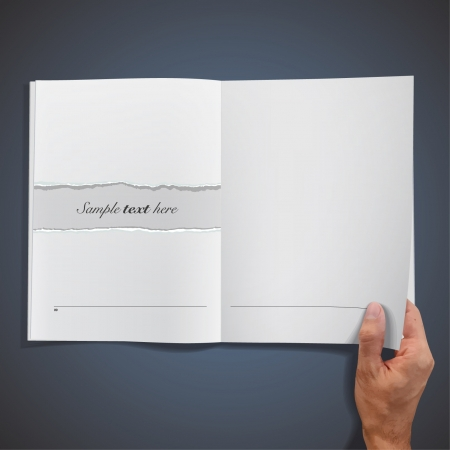 blank empty book on blue background. Vector
