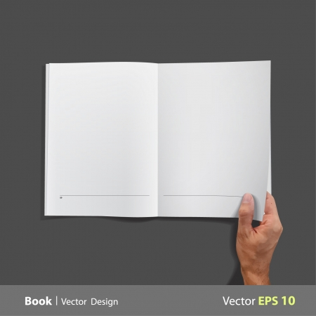 Empty white book isolated on black.  Vector