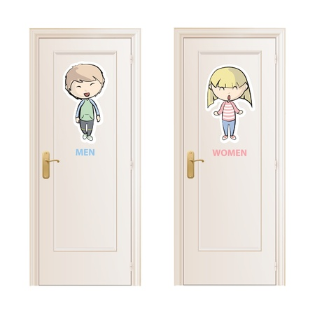 Toilet doors.  Vector