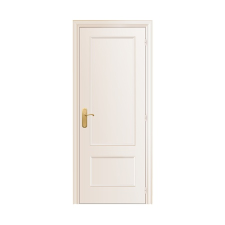 White door on isolated background.  Illustration