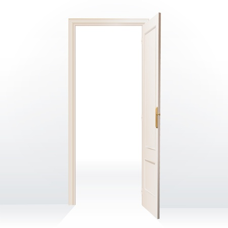 empty keyhole: Realistic open door on white background.  Illustration