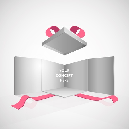 commemorate: Open box illustration on isolated grey background.