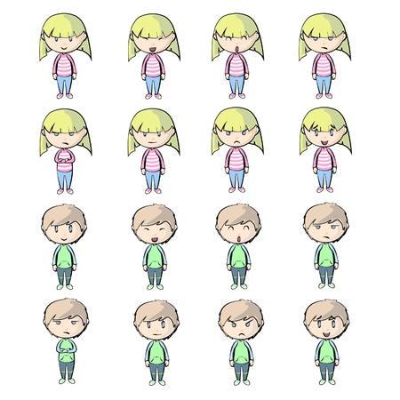 petite fille triste: Les gens avec des expressions diff�rentes. Illustration