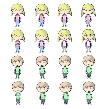 children sad: People with different expressions.  Illustration