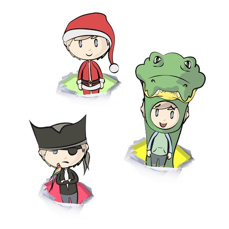 Group of children with their costumes.  Vector