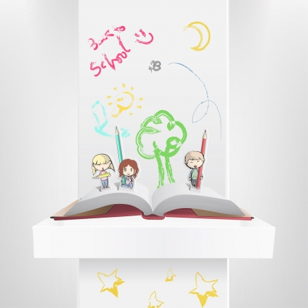 Children on a book drawing on the wall with colors.  Vector