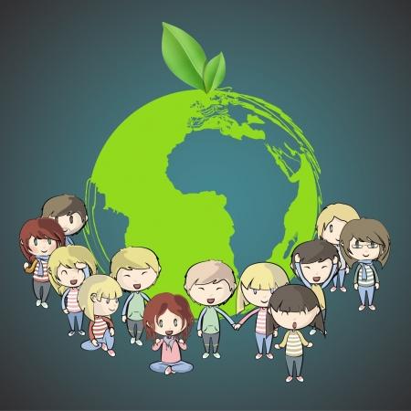 ni�os reciclando: Muchos j�venes amigos en torno a un icono de un planeta.