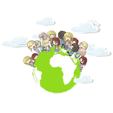 Kids around the world.  Vector