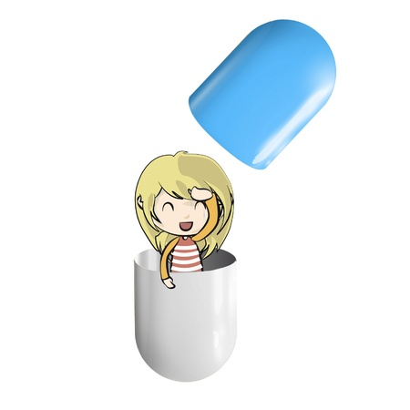 Pill whit cute blonde girl inside.  Stock Vector - 16867426