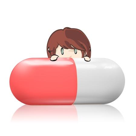 Redhead girl holding a pill.  Vector